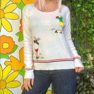 Vintage 70s novelty golf sweater striped shirt M/L